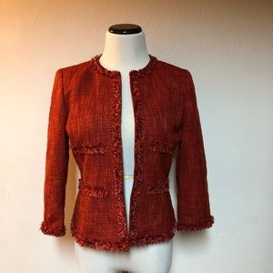 Kasper Red Tweed Women Jacket Coat Size 4